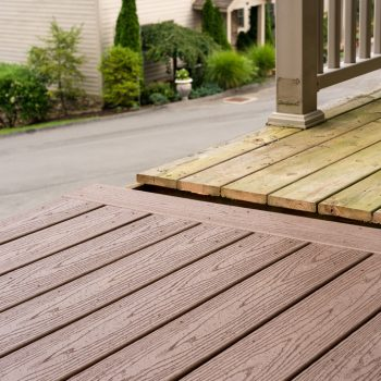 Wood and Composite deck side by side